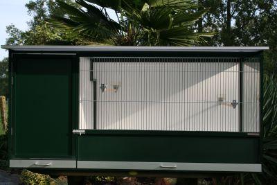buitenkooi B170 x D80 x H80CM  in groen alu ,binnenhok en polycarbonaat dak