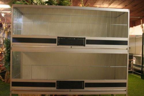 kooien in brut x alu  B164X D50 X H62CM met 2 vaks voederplateau ,zware fronten & 2 aluminium la