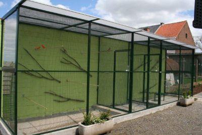 Volière in groen alu b650xd125xh200cm