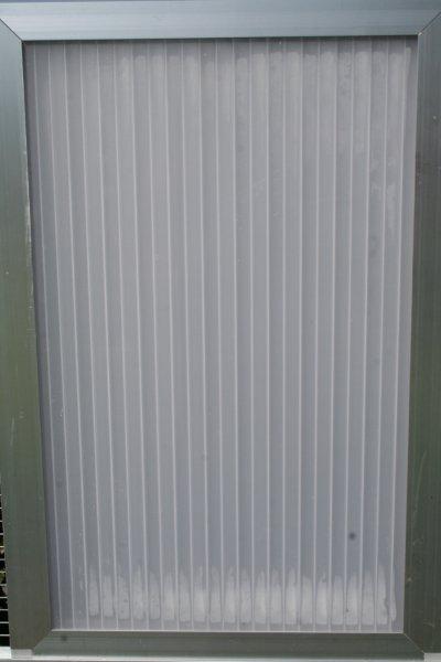 gesloten paneel 102x200cm in brut extra alu en polycarbonaat 16mm opaal