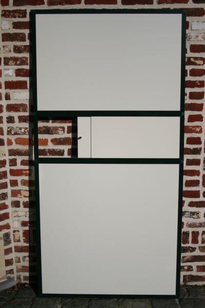 gesloten paneel 102x200cm in antraciet alu en wit acp met schuifdeur
