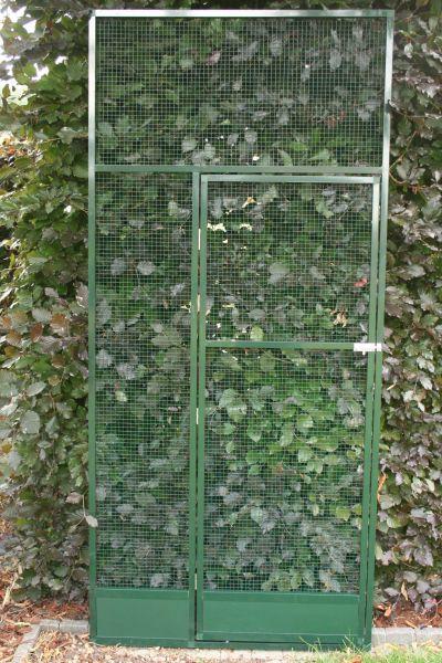 deurpaneel in groen alu 102 x 200cm met  morsrand en groene draad 12,7x12,7