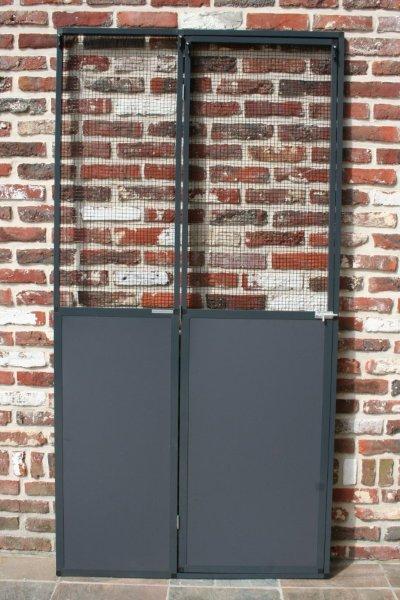 deurpaneel in antraciet 102x200cm met  zwarte draad 13x13mm