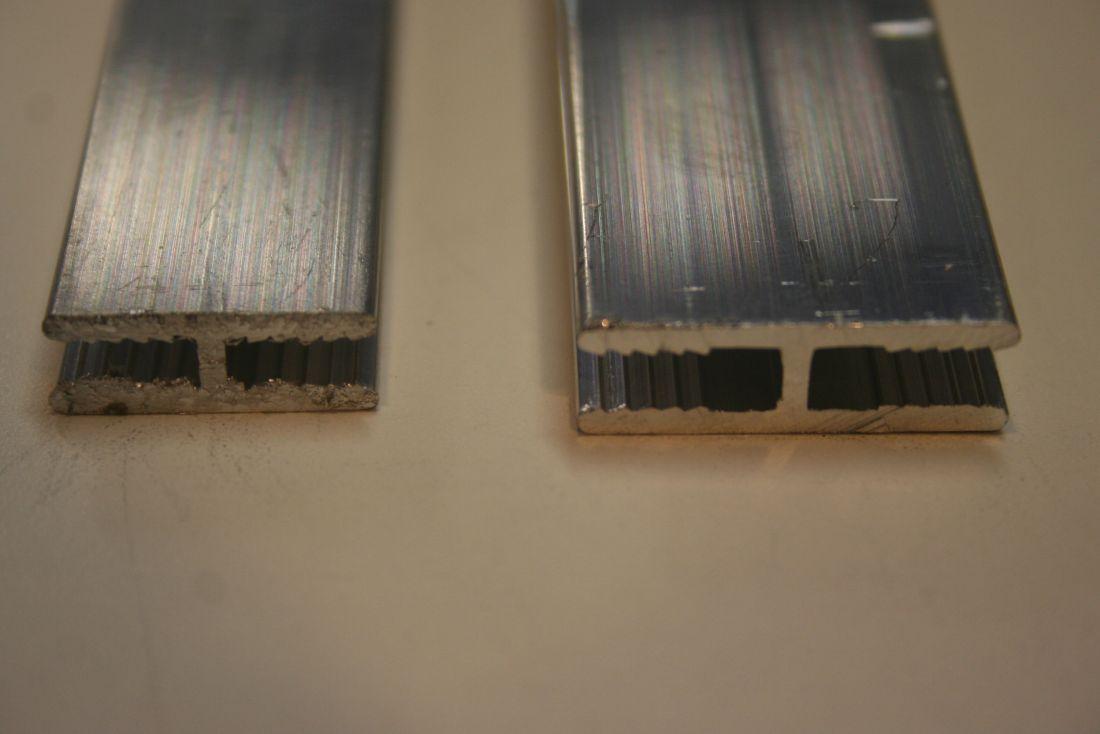 H profiel voor platen van 3 of 4mm